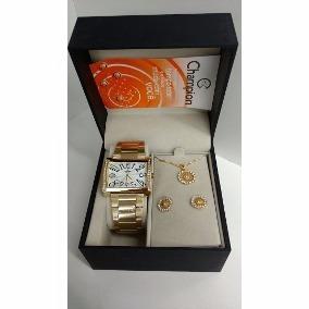 Relógio Champion Quadrado Dourado Kit Colar Brinco Ch24240w