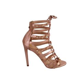Sandália Conceito Fashion Em Couro Gladiadora Salto Fino