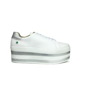 Trender Tenis Para Mujer Color Blanco Y Plataforma Con Rayas