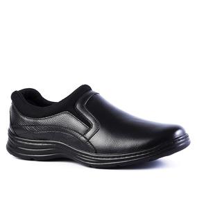 Sapato Masculino 9729 Em Couro Floater Preto/techprene Preto