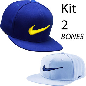 Kit 2 Bone Aba Reta Azul E Branco Snapback 3b8744d123a