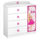 Cômoda Infantil 1 Porta 4 Gavetas Barbie Star Pura Cjwt