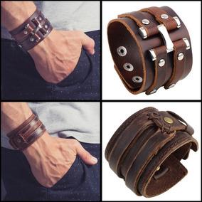 Kit Com 2 Braceletes Couro Masculino Johnny Depp F. Gratis
