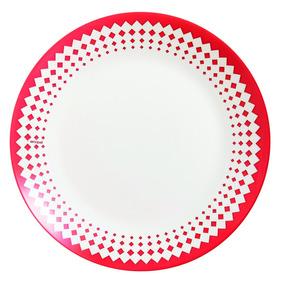 Plato Playo Arcopal Adoine Rojo 25cm Vidrio Opal X6u