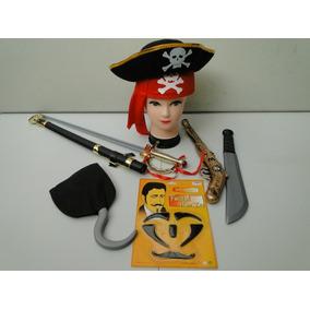 Kit Fantasia Jack Sparrow Chapeu Bandana Armas Pirata Bainha