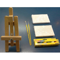 Mini Kit De Pintura Infantil- C/ Cavalete Miniatura-11-itens