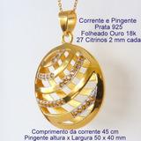 Corrente E Pingente De Prata 925 Com Banho Ouro Citrino 9464