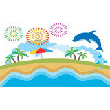 Painel Lona Festa 3,00x1,70mt Mar, Praia E Golfinho