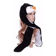 Touca De Pinguim Pelúcia Com Cachecol E Luva Fantasia E Frio