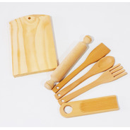 Pack X 10 Kit Cocina Utensillos De Madera Juguete Baum