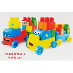 Trenzinho Brinquedo Trem Infantil + 36 Blocos De Montar Bebe