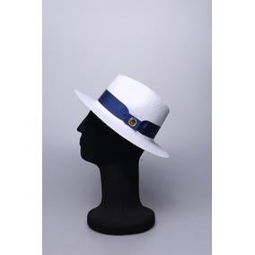 Chapéu De Palha Branco Faixa Azul Estilo Panamá Classico 2c52aa9af60