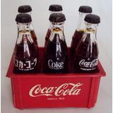 Engradado Miniatura Vermelho Com 6 Garrafas Coca Cola Vidro