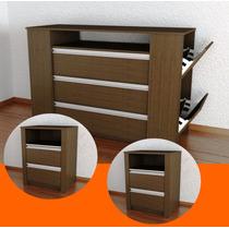 Combo Comoda Con Zapatero +2 Mesa De Luz Organizador Calzado