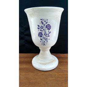 Vaso Em Cerâmica Esmaltada Cachepo Branco 22 Cm