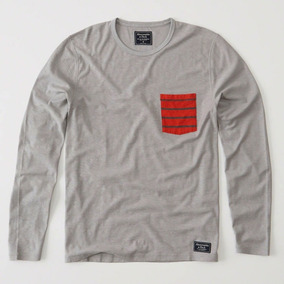3c27765358 Camiseta Abercrombie Fitch Logo Com Bolso Verde Pequena Camisetas ...