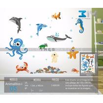 Vinilo Decorativo Infantil Animalitos-i 05 Acuario, Peces.