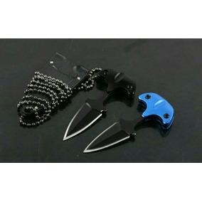 Cuchillo Collar Azul Llavero Tactico Manopla Navaja