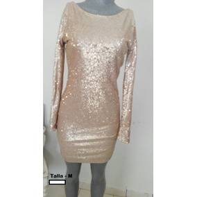 Vestido Fiesta / Cocktail Talla M - Color Beige