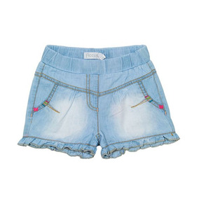 Short Niña Jeans Color Flora Jeans Celeste. Ficcus