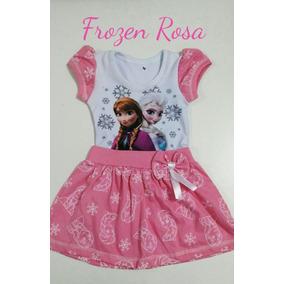 Vestido Infantil Frozen Rosa - Temático C/ Mangas