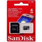 Cartao Micro Sd-lacrado-original Sandisk 4g Com Adaptador Sd