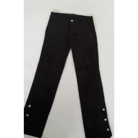 Pantalon Marron Gamuza Con Botones En Botamangas Precioso!