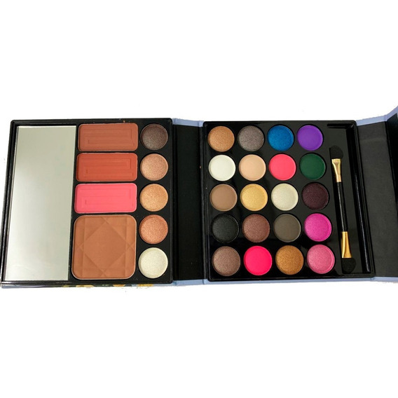 Set De Sombras X25 Colores + 3 Rubores + 1 Polvo Compacto