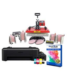 Kit Sublimação Prensa Térmica 8x1 Com Impressora L120