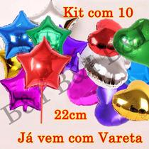 Kit 10 Balão Metalizado Estrela/coração 22cm Centro De Mesa