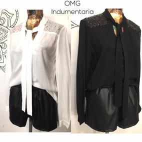Camisa Blusa Mujer Vestir Con Lazo Y Lentejuelas Noche