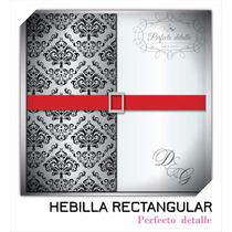 25 Hebillas Rectangular Plateadas Invitaciones Pd
