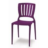 02 Cadeira Sofia Com Encosto Vazado Cor Lilás Tramontina