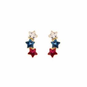 Brinco De Ouro 18k- Feminino Três Estrelas Com Pedra