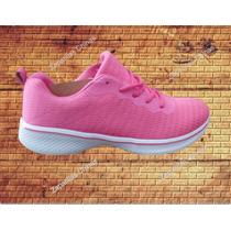 Zapatillas Tipo Skechers Mujer Color Negras-rosa-azules