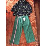 Conjunto De Pantalon Verde Nuevo C Etiqueta Y Blusa Italiana