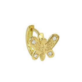 Piercing Orelha Em Ouro Amarelo 18k Borboleta Com Zircônias
