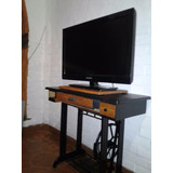 Mesa Tv, Rack, Pie De Maquina Reciclado, Estilo Vintage