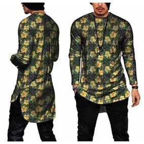 Camiseta Masculina Longline Manga Longa Margaridas Floral d156aa629eb96