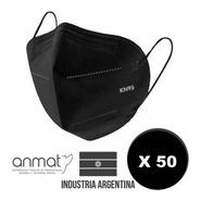 Pack X 50 Barbijo Kn95 Negro Anmat Mascarilla Profesional
