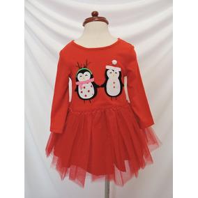 Vestido Bebe Navidad Rojo Pinguinos Tutu