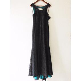 Vestido De Encaje Con Forro Verde Esmeralda (combinado)