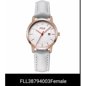 Relógio Branco Fila Luxo Pulseira Couro