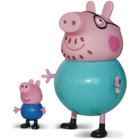 Família Peppa Pig Com 2 Personagens - Papai Pig E George