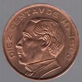 Moneda Diez Centavos Juárez 1966 Nueva C5