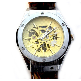 Reloj Skeleton Gold Tipo 24k Automatico Hublo