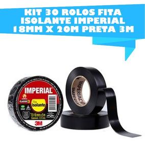 Kit 30 Rolos Fita Isolante Imperial 18mm X 20m Preta 3m
