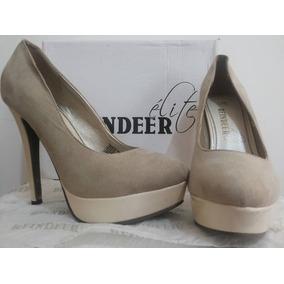 Preciosos Zapatos Beige Crema Champaña Altos Reindeer Élite