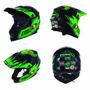 Capacete Infantil Motocross Trilha Insane 5 - Preto Verde