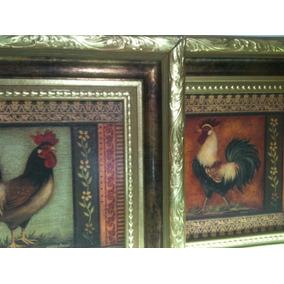Cuadro Gallos-cocina-decorativos-vintage-adornos-no Nuevo
